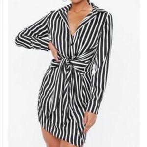 Tie waist shirt stripe dress